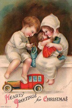 Frances Brundage - American - vintage Christmas postcard