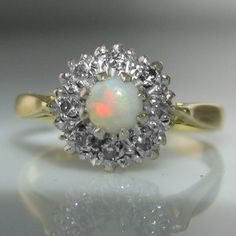 Vintage Opal And Diamond Ring Diamond Rings, Diamond Engagement Rings, Gemstone Rings, Engagement Jewelry, Vintage Diamond, Vintage Rings, Galway Ireland, Cluster Ring, Gemstone Colors