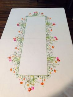 This Pin was discovered by emb Tobin Wildflowers Stamped Oblong Tablecloth for Embroidery The most beautiful cross-stitch pattern Linen Placemats Set of 6 Embroidery Linen Table Linen Table Top Fabric Placemat White Hand Embroidery Videos, Hand Embroidery Stitches, Crewel Embroidery, Cross Stitch Embroidery, Machine Embroidery, Floral Embroidery Patterns, Hand Embroidery Flowers, Hand Embroidery Designs, Cross Stitch Beginner