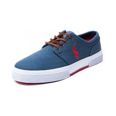 Shop for Mens Faxon Casual Shoe by Polo Ralph Lauren  in Blue Red at Journeys Shoes. Shop today for the hottest brands in mens shoes and womens shoes at Journeys.com.Sporty causal sneaker from Polo featuring a cotton canvas upper, sharp-look side stitched Polo logo, and refined leather lace-up. Also features a padded shock absorbing insole and treaded rubber outsole for durable, everyday comfort.