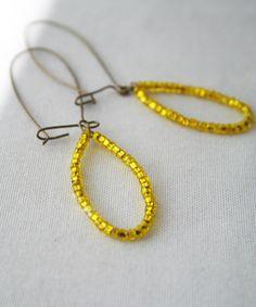 Teardrop Beaded Yellow Earrings