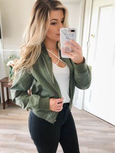 Army Green Bomber Jacket Outfit #mintpopshop https://mintpopshop.com/collections/jackets/products/army-green-bomber-jacket