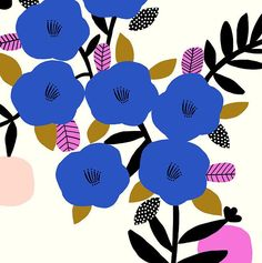 Illustration by Susan Driscoll (via The Print Tree). Motifs Textiles, Textile Patterns, Textile Prints, Flower Patterns, Print Patterns, Graphic Patterns, Graphic Design, Motif Floral, Arte Floral