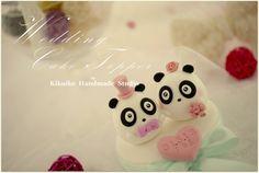 LOVE  Panda Wedding Cake Topper by kikuike on Etsy, $100.00