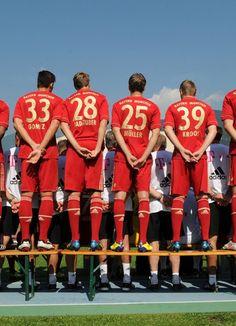 Mario Gomez, Holger Badstuber, Thomas Müller and Toni Kroos of FC Bayern München