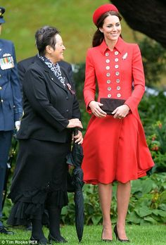 Chatty: The Duchess later went for a stroll around the gardens with the Governor General of New Zealand Sir Jerry Materparae