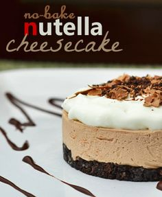 This is a simple No Bake Nutella Cheesecake Recipe. If you love Nutella and you love cheesecake, you MUST try this simple & easy recipe everyone will love!