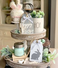 "Dec 30, 2020 - How adorable is this mini Happy Easter tag!? Perfect for farmhouse tiered trays. Handmade from pine wood, cut sanded and stained with general finishes gray. Happy Easter is painted on in off white. Tag measures approximately 6"" tall x 4"" wide. Complete with twine and buffalo check ribbon."