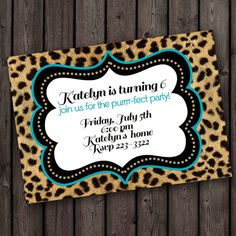 Hey, I found this really awesome Etsy listing at https://www.etsy.com/listing/177336476/cheetah-invitation-with-free-wording