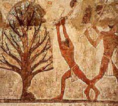 Carpintero talando una acacia  para elaborar el mobiliario funerario.