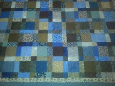 Queen size blue and brown quilt by 4quiltsandmore on Etsy, $199.00