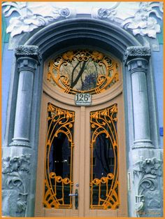 Entrance of an Art Nouveau Style House in Vienna, District Hietzing