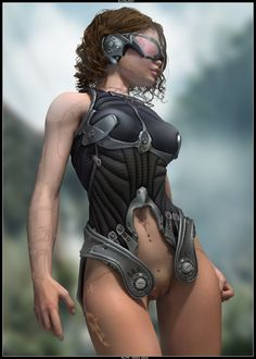 Sunburst by *AlfaSeed # cyberpunk, robot girl, cyborg, futuristic, android, sci-fi, science fiction, cyber girl, digital art