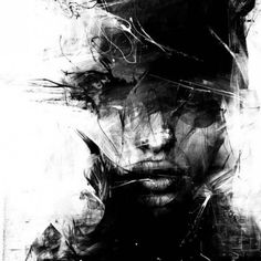 """- Russ Mills {abstract female head woman face portrait b+w painting. - art """"Baubauhaus"""" - Russ Mills {abstract female head woman face portrait b+w painting. - art""""Baubauhaus"""" - Russ Mills {abstract female head woman face portrait b+w painting. Portraits, Wow Art, Art Graphique, Contemporary Paintings, Black Art, Black And White Painting, Painting & Drawing, Urban Painting, Body Painting"""