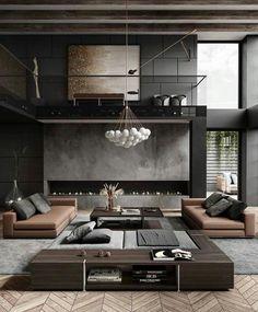 Home Room Design, Dream Home Design, Modern House Design, Living Room Designs, Luxury Interior, Interior Architecture, Interior Design, Modern Interior, Interior Plants