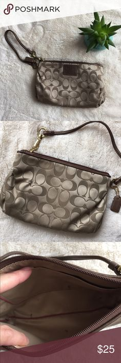 Coach wristlet Used as a makeup bag. Small marks in the interior. Coach Bags Clutches & Wristlets