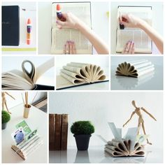 Don't let your mail just pile up on the counter this year. Use this tutorial by Renee from Bulb to Blossom to turn an old book into an elegant letter holder.Materials: a book (a smaller hardcover works nicely), craft glue, a sponge brush, a ruler, and a utility knife.1. First, after separating the book into equal sections, apply glue to the inside of the seam.2. Use the sponge brush to spread the glue evenly along the seam.3. Roll the first section of the book inward and press it into the…