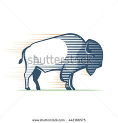 Vintage line Buffalo logo. Animal design template elements for your corporate identity, sport team branding, T-shirt, label, badge, card or illustration.
