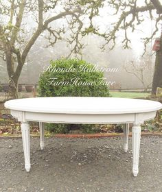 White Oval Coffee Table Vintage Chalk Painted Distressed French Provincial  Shabby Cottage Chic Living Room Home