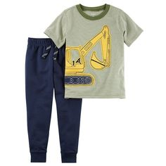 Baby Boy Carter's Construction Short Sleeve Tee & Jogger Pants Set, Size: 9 months, Ovrfl Oth