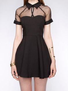 mesh top sweetheart skater dress... a little too short, but I like the top