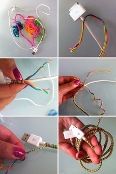 """friendship bracelets for your tech cords & cables"" - I wonder if I can make this using material to also help protect my cords from my kittens..."