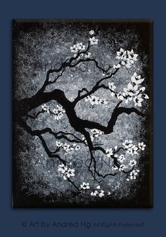 "RESERVED for J. Black and White Decor, White Cherry Blossom Acrylic Painting 2 Canvases, 12"" x 16"", ready to hang, abstract background"
