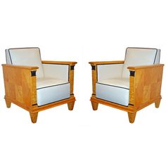 Pair of Art Deco Birch Armchairs | From a unique collection of antique and modern armchairs at http://www.1stdibs.com/furniture/seating/armchairs/