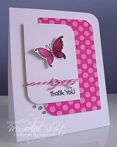 Bubblegum pink colors brighten up this handmade thank you card.  The Paper Smooches Pretty Momma butterfly stamp has been colored with Copic markers and popped on the front - it looks like it's flying off!
