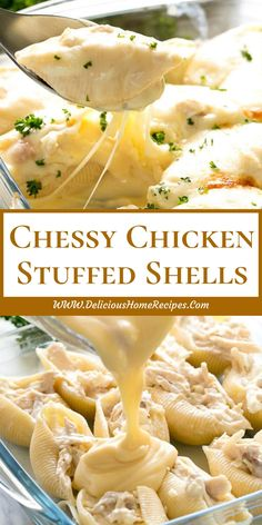 Chessy Chicken Stuffed Shells - Delicious Home Recipes Pasta Recipes, Chicken Recipes, Dinner Recipes, Cooking Recipes, Dinner Ideas, Recipe Chicken, Chicken Stuffed Shells, Stuffed Shells Recipe, Pasta Casserole
