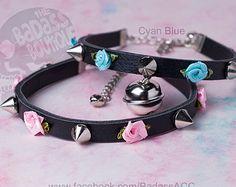 Ribbon rose spike Kitty bell black vegan leather collar, choker, necklace. Cosplay cat lover halloween jingle bell choker collar punk rock.