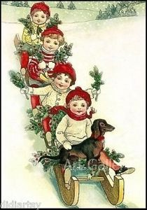 Dachshund Christmas Sledding Children 1917 Antique Vintage PC
