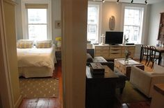 Kate's High-Functioning Space - Small Cool contender at Apartment Therapy. Fireplace and exposed brick. Want to move in.