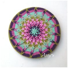 atty's: Crochet Mandala Pot Coaster Tutorial