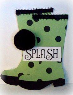 rain boots - wellies  SPLASH  Jovita Torres - Rain boot shaped card
