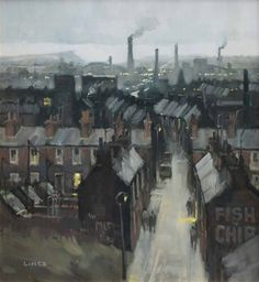 Artwork by John Lines, Fish and Chips, Made of oil on board - Modern Industrial Artwork, Industrial Paintings, Urban Landscape, Landscape Art, Landscape Paintings, City Painting, Building Art, Art For Art Sake, Beautiful Drawings