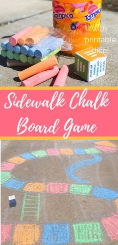 This outdoor sidewalk chalk board game is the perfect outside activity for families. Simple to make and tons of family fun to play with. #Ad #TampicoJuice #SpringintoFun #FlavorsOfFun #outdoorfun #sidewalkchalk #kidsactivities #summerfun #parenting