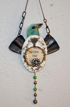 Assemblage Art CUCKOO BIRD repurposed found by jeanettejanson, $32.00