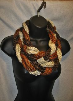 Braided Infinity Scarf  Warm Browns Cowl by TheLittleBarntique