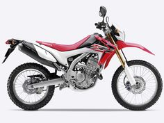 Side on, right-facing red Honda CRF250L