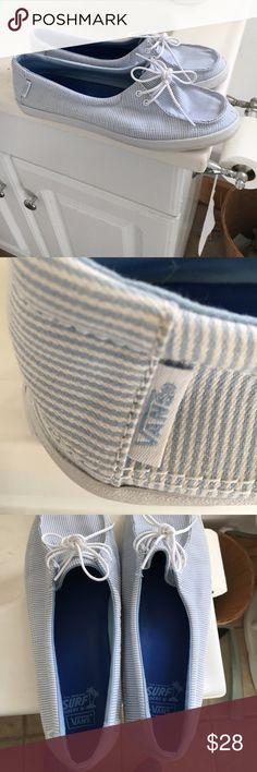 Blue Stripped vans size 9 shoes Vans sneakers shoes slip ones . Blue stripped very light wear . Size 9 Vans Shoes Flats & Loafers