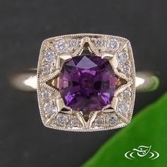 Dramatic purple #Sapphire and yellow gold #EngagementRing is   ready for your #Ido! #GreenLakeMade