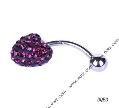 $23.88 24mm Purple Heart Navel Nail Belly Button Bar Ring Crystal Body Piercing Art #BodyJewelry #eozy