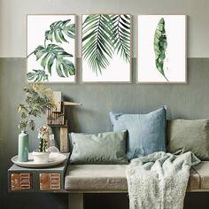 Quadro su tela decorazione su tela Foglia tropicale Quadro su tela Foglie di palma Stampa artistica su tela Poster Immagine Decorazione della stanza Soggiorno 60x80cm Senza cornice