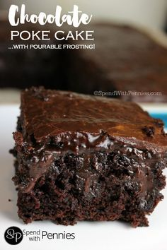 This chocolate poke cake from scratch is one of the most amazing and moist cakes you'll ever have! A secret ingredient brings out the chocolatey goodness! (Chocolate Desserts From Scratch) Poke Cake Recipes, Poke Cakes, Cupcake Cakes, Dessert Recipes, Layer Cakes, Bundt Cakes, Just Desserts, Delicious Desserts, Yummy Food