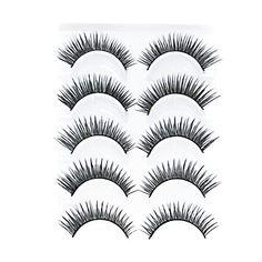 5 Pair Black Handmade lengthening FiberFalse Eyelashes - USD $ 1.69