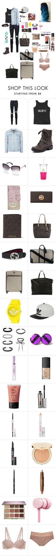 """""""Untitled #1624"""" by katy-marie-maynard ❤ liked on Polyvore featuring AMIRI, Topman, Planet, Kate Spade, MICHAEL Michael Kors, Gucci, adidas, Lime Crime, NARS Cosmetics and Benefit"""