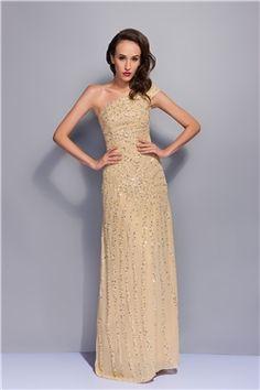 Aラインワン―ショルダー床長さのイブニングドレス