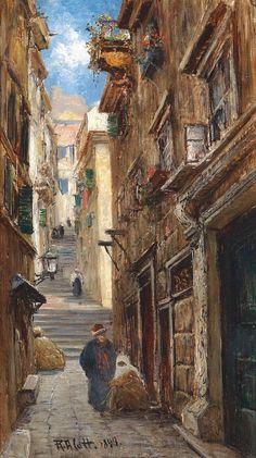 Robert Alott, 1850-1910, Austrian painter, Oriental Street Scene, 1897