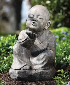 The Wishing Buddha Garden Statue breathes life and serenity into your garden. This beautifully sculpted Buddha statue is made of weather-resistant resin. Baby Buddha, Little Buddha, Buddha Zen, Buddha Buddhism, Outdoor Statues, Garden Statues, Garden Sculpture, Garden Fountains, Meditation Garden